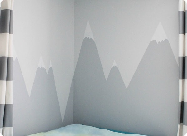 mountain mural with snowy peaks