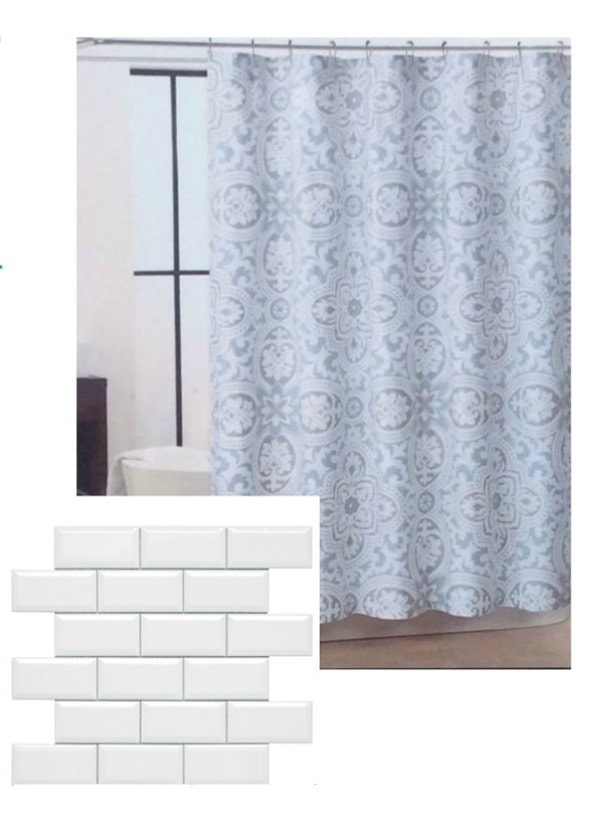 blue and gray shower curtain and white subway tile