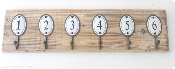 towel hook with enamel numbers