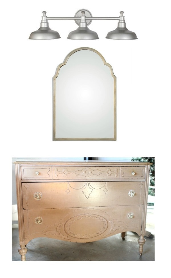 old dresser turned vanity with a special mirror and farmhouse light fixture