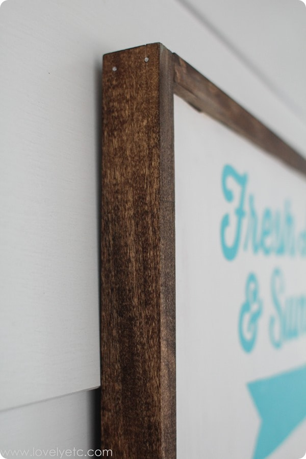 framing wood sign using finishing nails