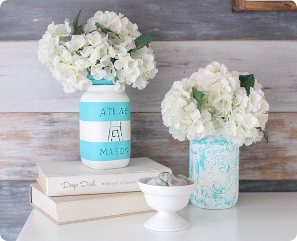 painted aqua and white mason jars