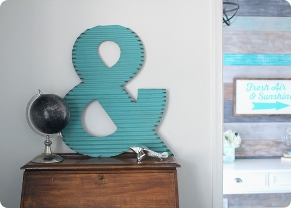 turquoise metal ampersand