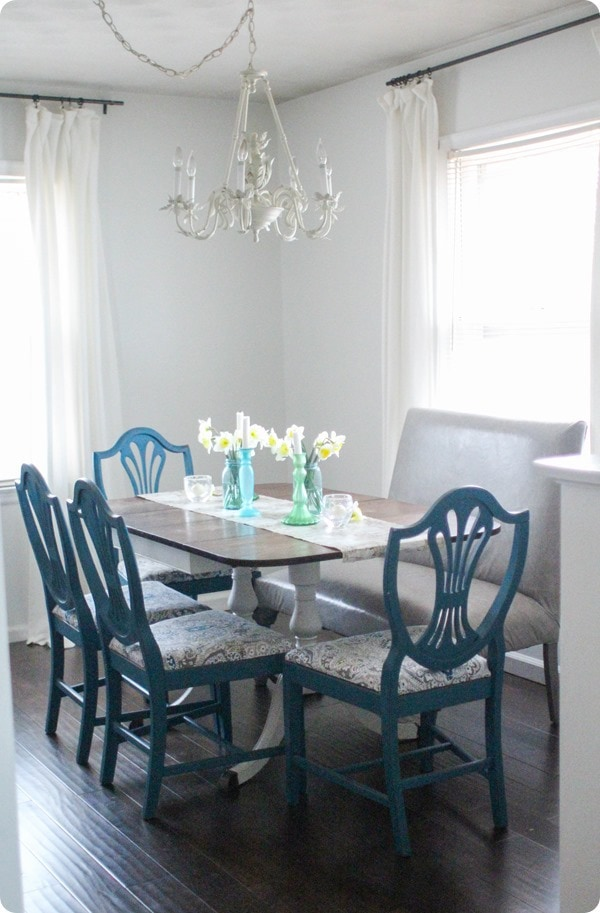 spring centerpiece in dining room