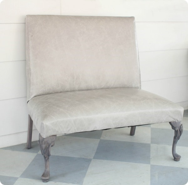 reupholstered in gray leather