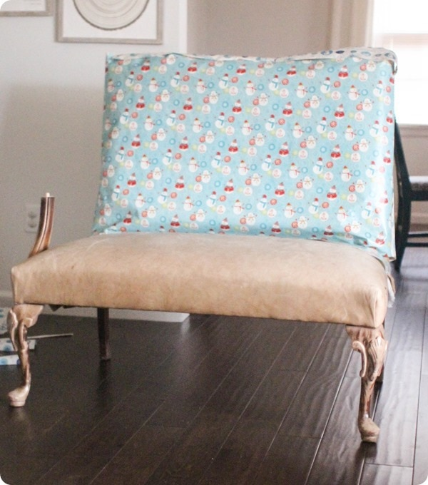 using wrapping paper to make an upholstery pattern