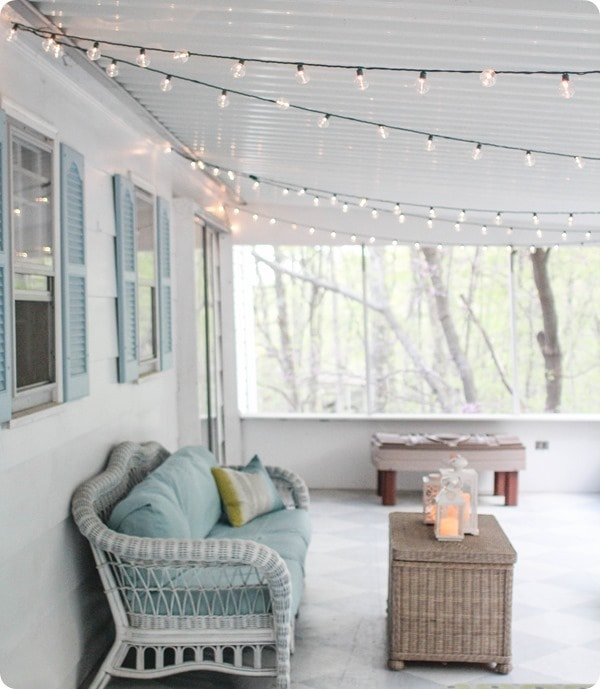 screened porch string lights