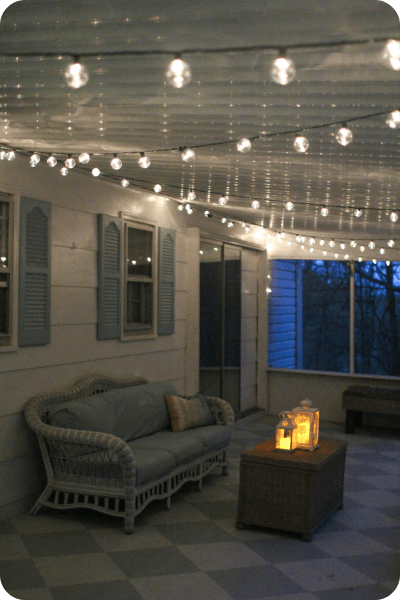 How To Hang String Lights On Screened Porch : A gorgeous porch light solution - Lovely Etc.