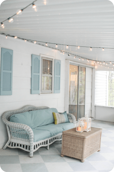 string lights on porch