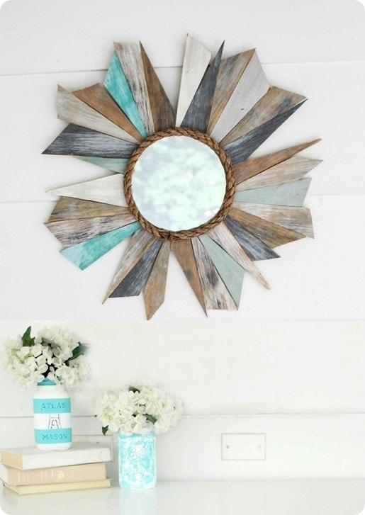 DIY weathered wood mirror 2