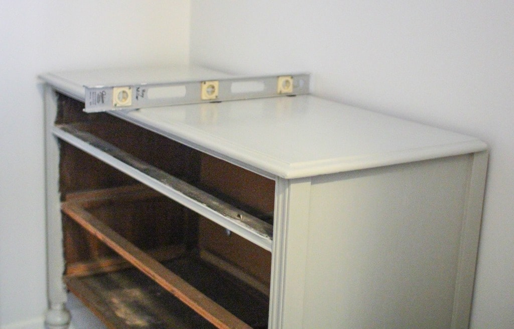 leveling an old dresser
