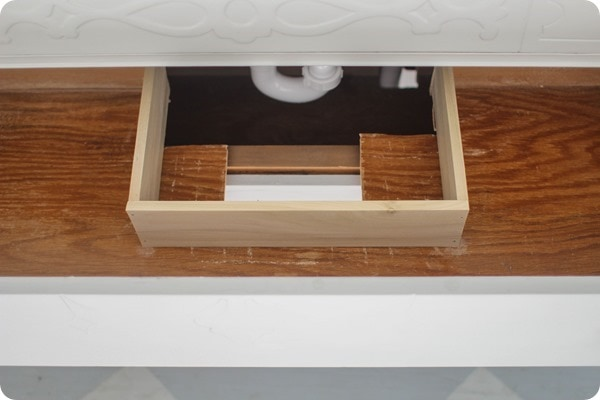 how to fix dresser drawers to make a bathroom vanity