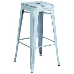 distressed blue bar stool