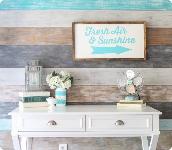colorful plank wall and diy light