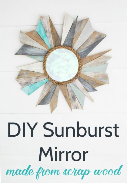 DIY sunburst mirror made from scrap wood