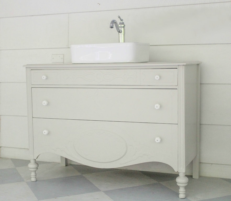 How To Make A Dresser Into A Bathroom Vanity The Nitty Gritty - How to make a bathroom vanity