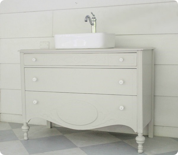 vintage dresser bathroom vanity with vessel sink - D. Lawless Hardware