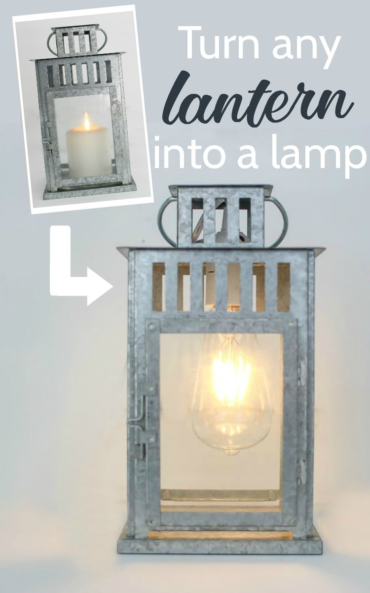 How to turn a lantern into a lamp lovely etc how to turn any lantern into a lamp geotapseo Images