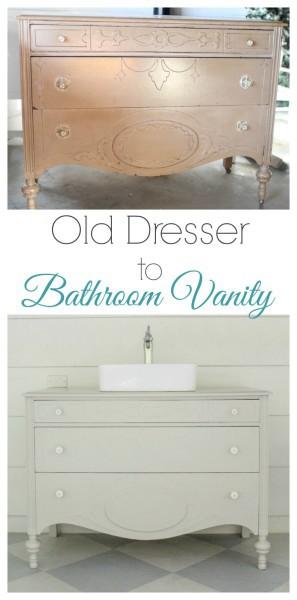 Old Dresser To Bathroom Vanity