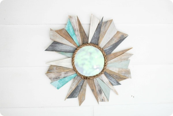 scrap wood sunburst mirror