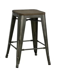 metal bar stool with wood seat