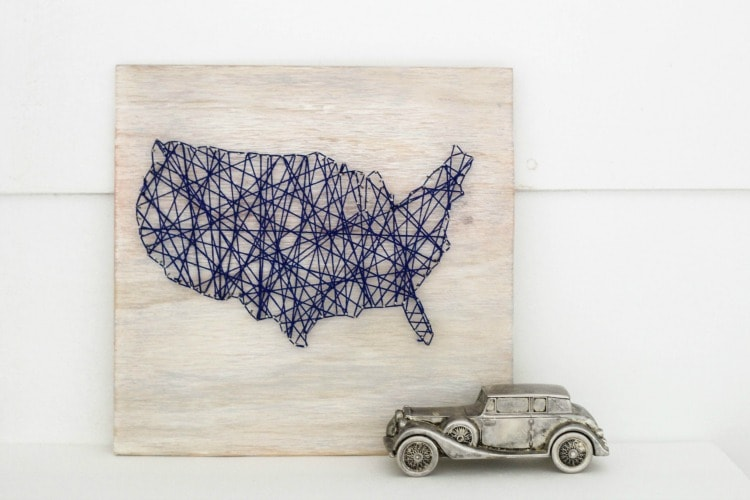 DIY Map String Art Lovely Etc - Sketch drawing us with states map