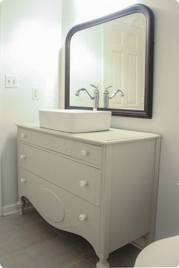 Vintage Mirror And Dresser In Bathroom