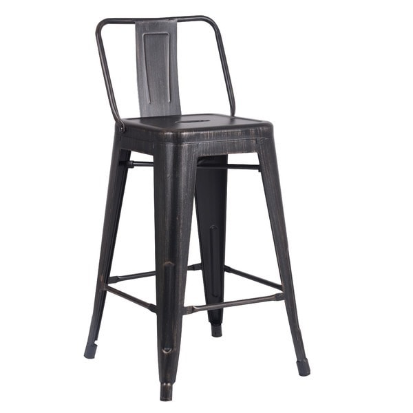 industrial metal stool with back