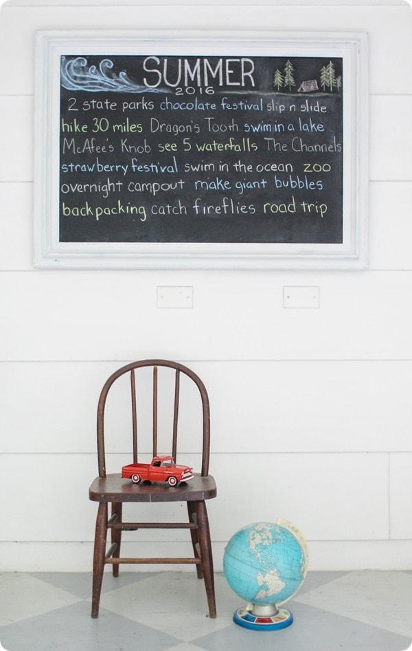 summer list chalkboard