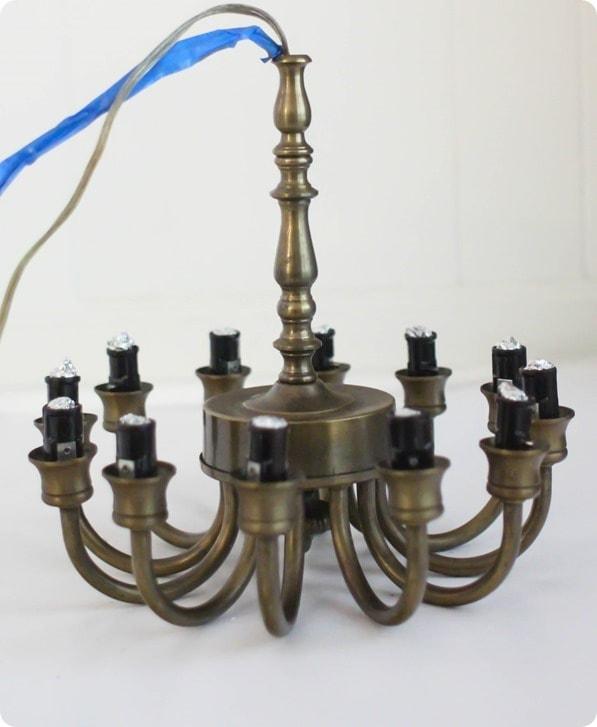interior of old brass chandelier