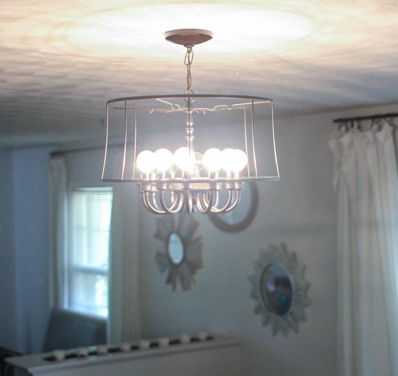 Updated industrial chandelier save · repurposed brass chandelier