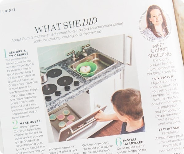 diy play kitchen in magazine