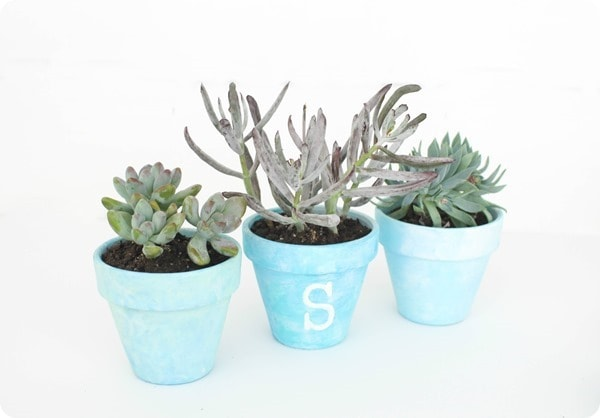 blue watercolor pots