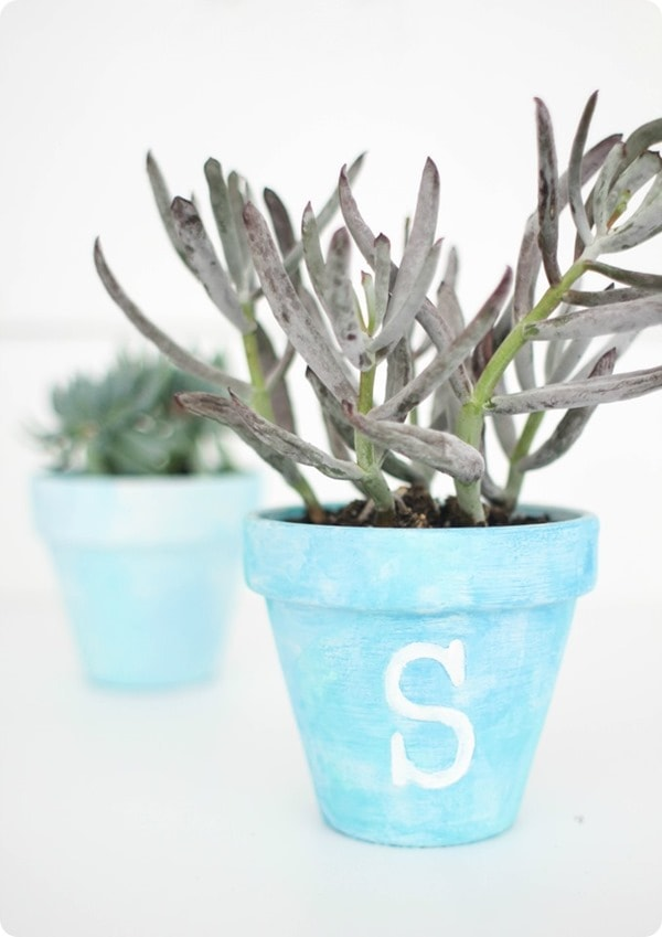 monogram painted pot