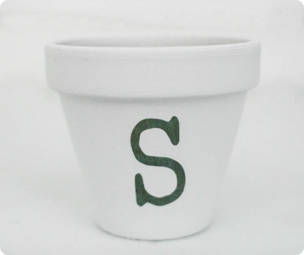 painting an initial pot