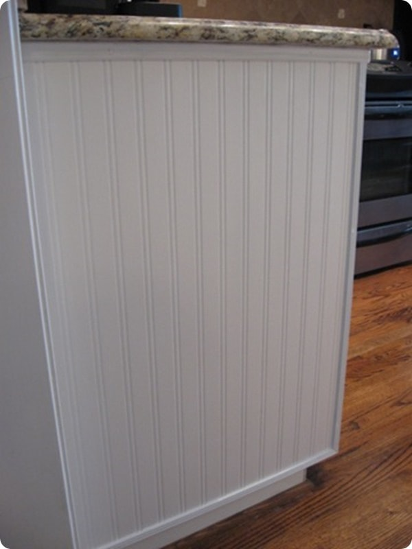 beadboard wallpaper on cabinets