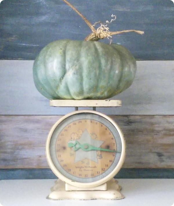 blue pumpkin on vintage scale