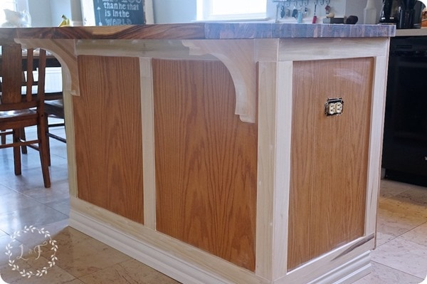 customizing a kitchen island with trim