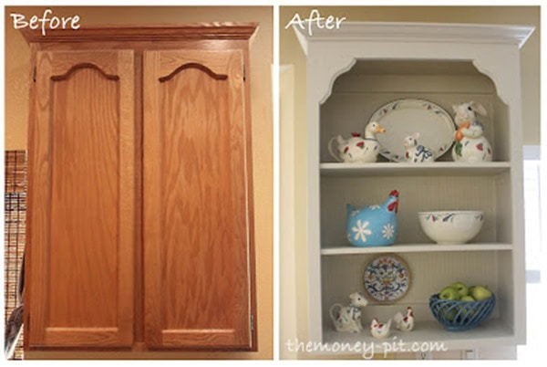 turning kitchen cabinets into shelves