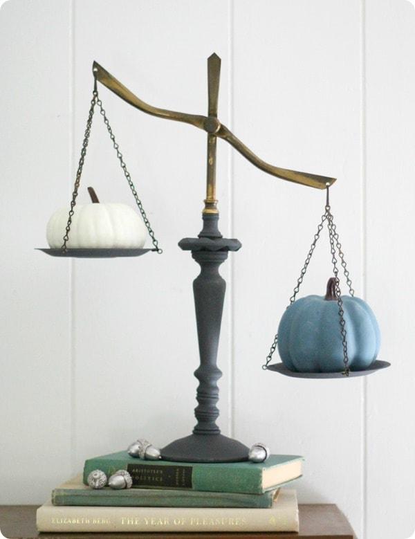 vintage balance with pumpkins