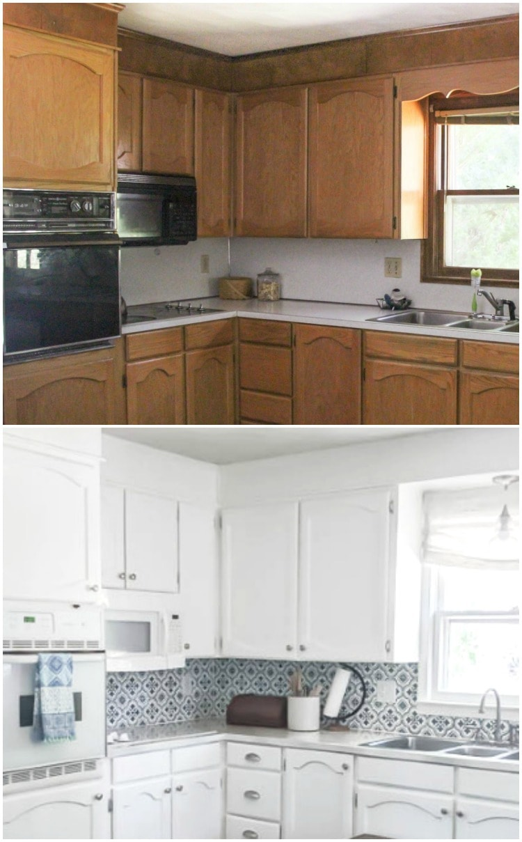 oak cabinets before and after painting.