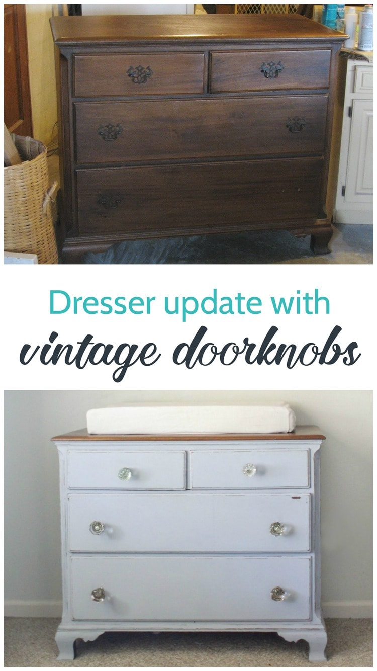dresser update with vintage doorknobs