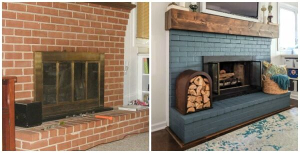 How To Paint A Brick Fireplace The, Pictures Of Painted Fireplaces Before And After