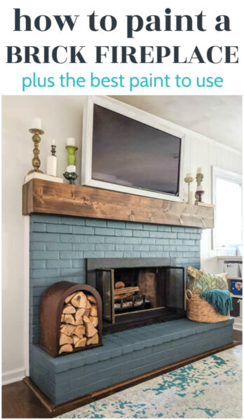 blue painted brick fireplace