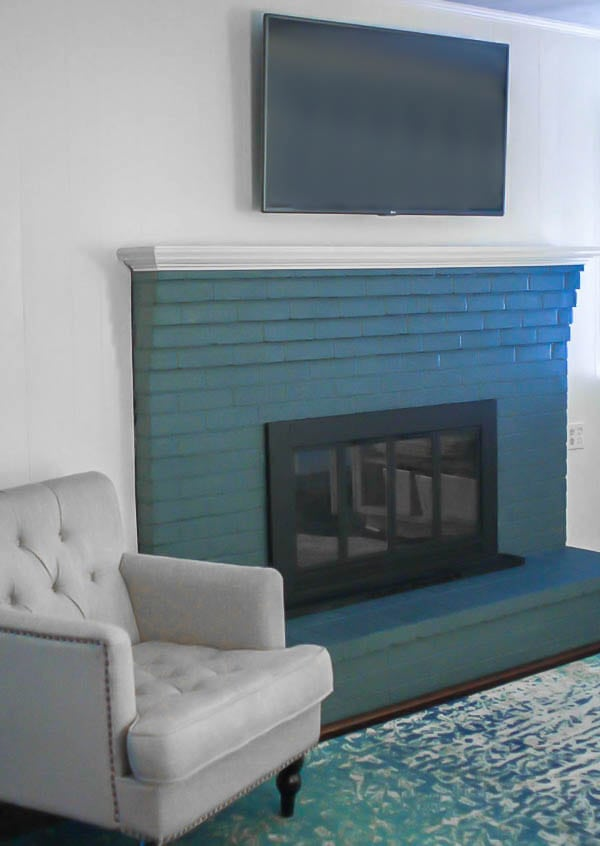 fireplace painted blue