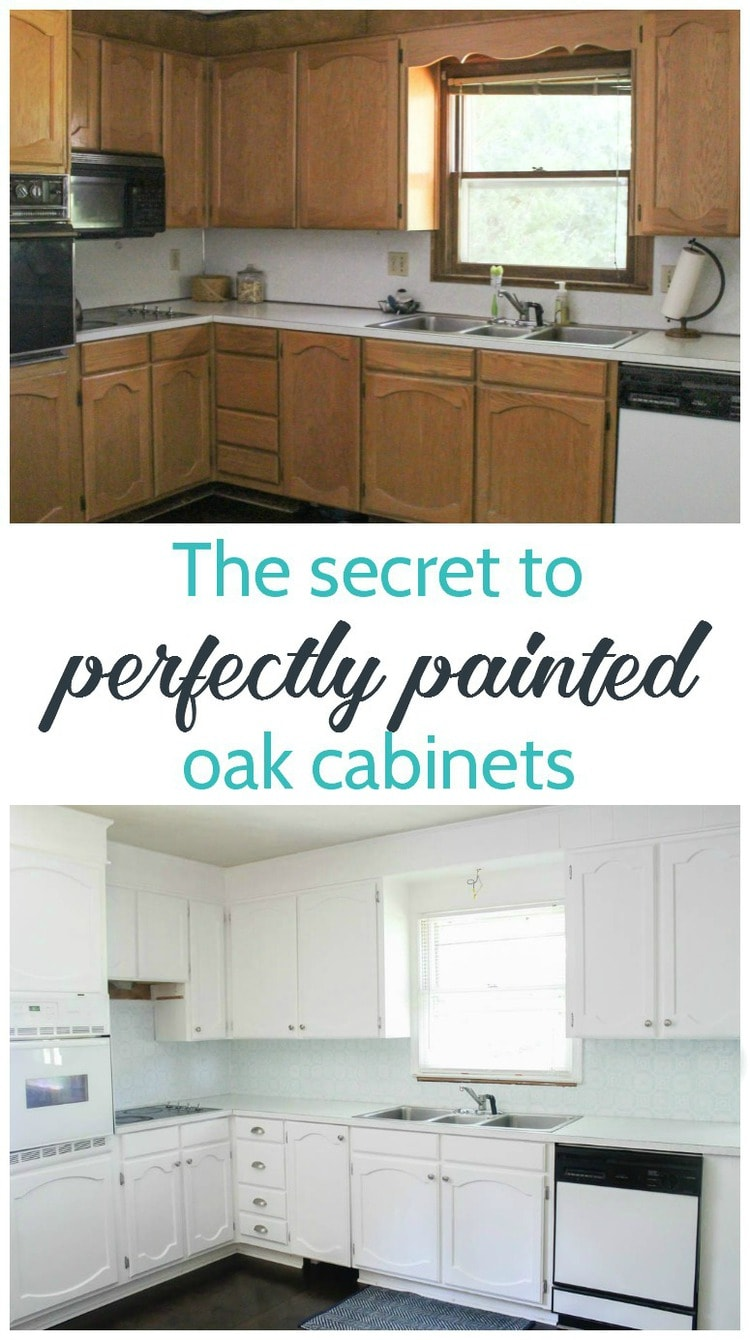 Painting oak cabinets white an amazing transformation for Best way to paint kitchen cabinets video