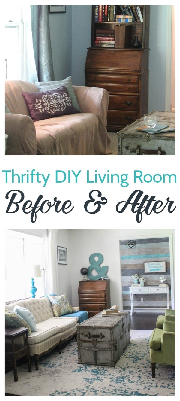 thrifty diy living room before and after