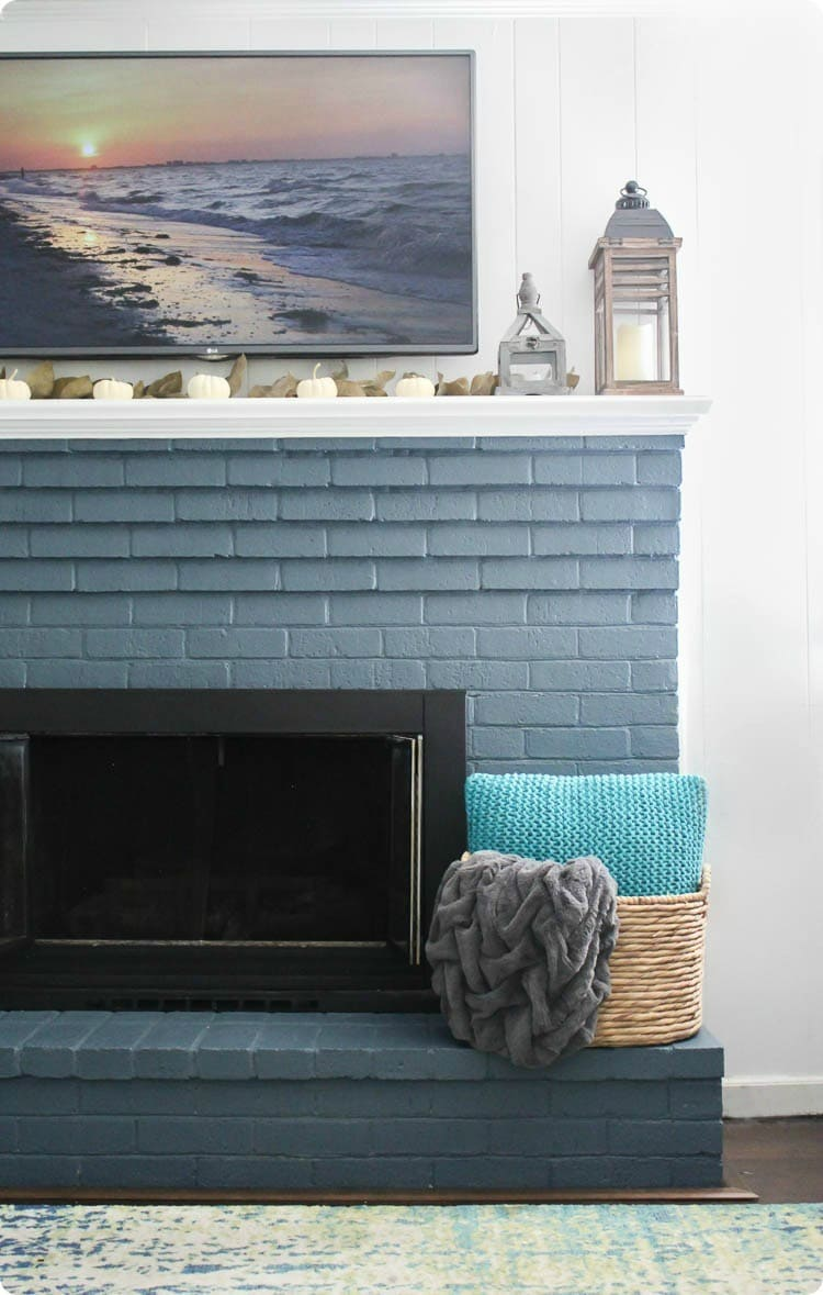fall farmhouse fireplace