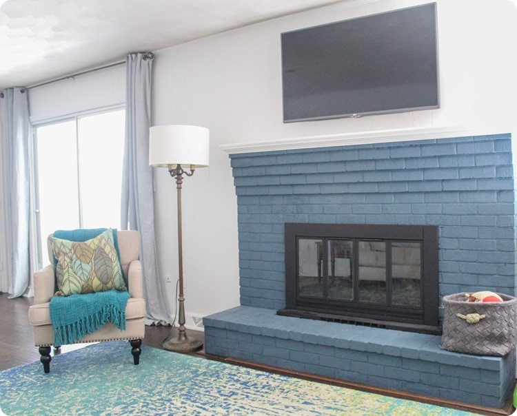 navy brick fireplace