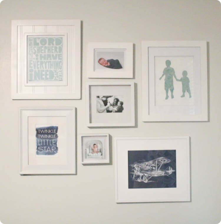 simple nursery gallery wall